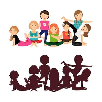Allenamento yoga per ragazze carine