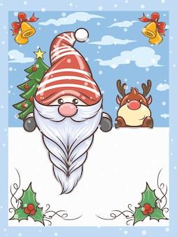 Simpatico gnomo e simpatico personaggio dei cartoni animati di cervi sull'illustrazione di natale