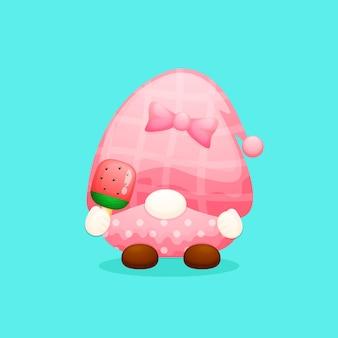Simpatico gnomo con cartone animato gelato