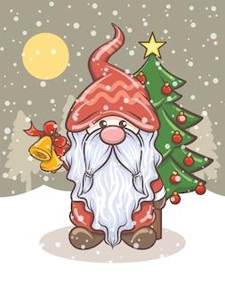 Gnomo carino con jingle bells - illustrazione di natale