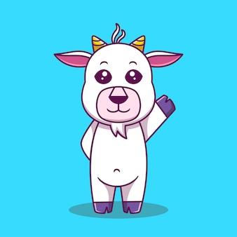 Simpatico cartone animato di capra in piedi illustrazione vettoriale