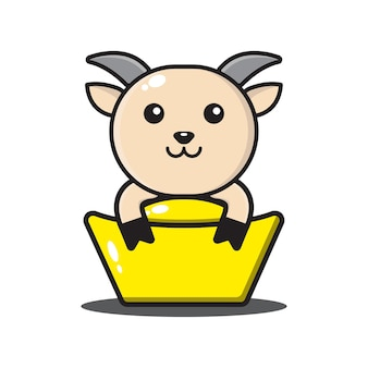 Zodiaco cinese carino capra isolato su bianco