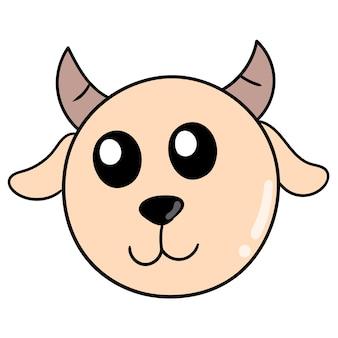 Testa di capra carina con le corna, emoticon di cartone illustrazione vettoriale. disegno dell'icona scarabocchio