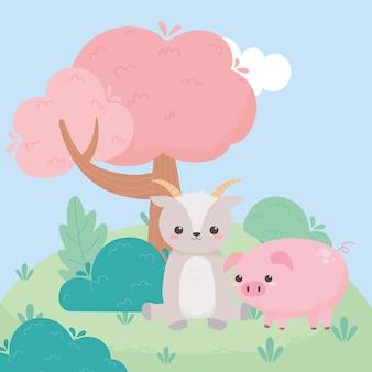 Seduta di capra carina e cespugli di alberi di maiale erba animali del fumetto in un paesaggio naturale