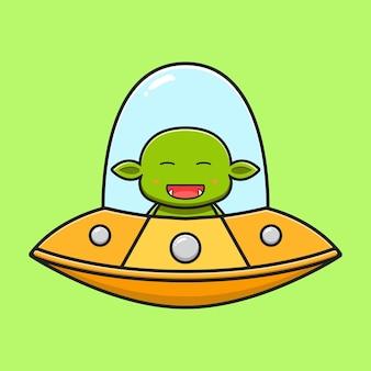 Simpatico goblin alla guida di un'icona del fumetto ufo. design piatto isolato in stile cartone animato