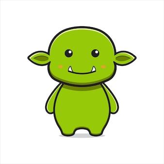 Simpatico goblin mascotte personaggio icona del fumetto illustrazione vettoriale. disegno isolato su bianco. stile cartone animato piatto.