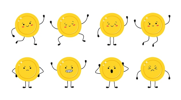 Moneta d'oro carina in diverse pose. la moneta dei soldi corre, salta, è felice, triste, arrabbiata. personaggi dei cartoni animati divertenti di vettore isolati su priorità bassa bianca