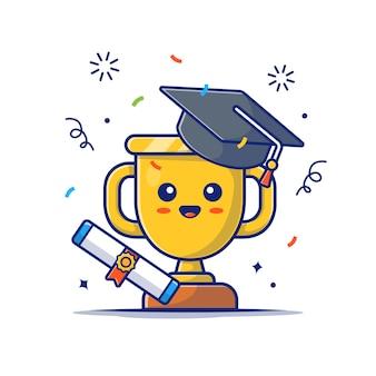 Trofeo d'oro carino con icona borsa di studio. mascotte di calice d'oro, bianco dell'icona di istruzione isolato