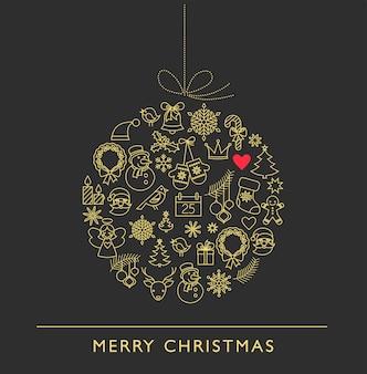 Simpatici personaggi natalizi line art dorati.