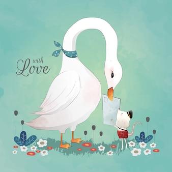 Cute goose riceve una lettera Vettore Premium