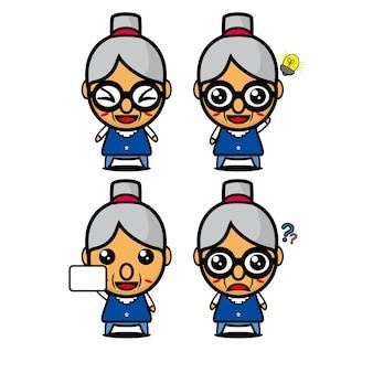 Collezione di set di nonna carina illustrazione vettoriale personaggio nonna stile piatto cartone animato