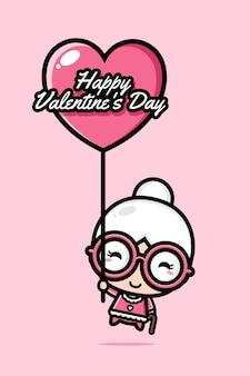 Carino nonna volare con palloncini cuore auguri di san valentino felice