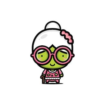 Disegno vettoriale carino nonna zombie
