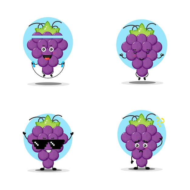 Collezione di simpatici personaggi d'uva