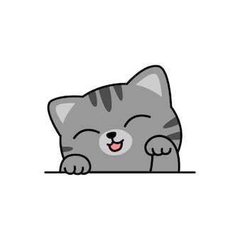 Cartone animato carino gatto grigio, illustrazione vettoriale