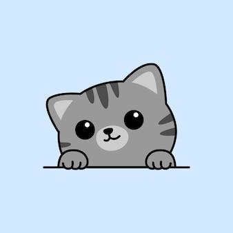 Simpatico gatto grigio zampe sul fumetto del muro