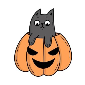 Un simpatico gatto grigio si siede in una zucca per halloween. illustrazione in stile scarabocchio