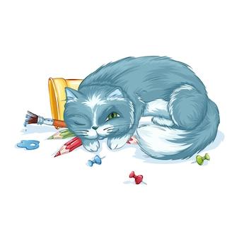 Il simpatico gatto grigio dorme su matite e pennelli. materiale scolastico. di nuovo a scuola.