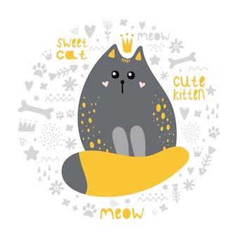 Carino gatto grigio con una coda rossa.