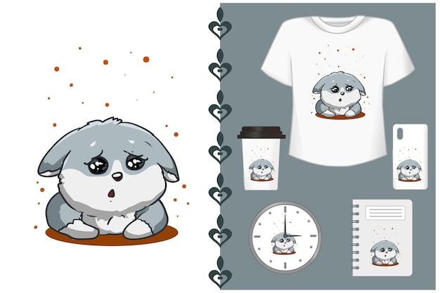 Illustrazione di cartone animato carino cane grigio