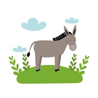 L'asino grigio sveglio sta nel prato. animali da fattoria del fumetto, agricoltura, rustico. semplice illustrazione piatta vettoriale su sfondo bianco con nuvole blu ed erba verde.