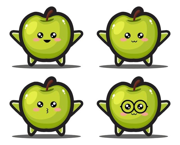 Simpatica mela verde frutta kawaii design premium
