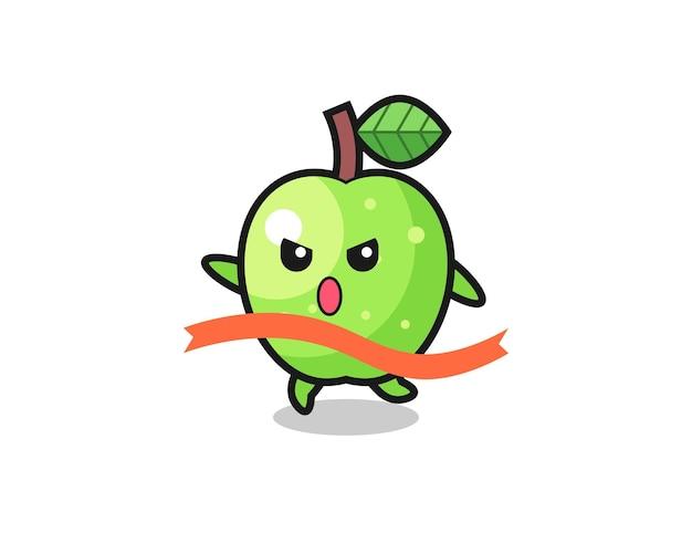 L'illustrazione carina della mela verde sta raggiungendo il traguardo, il design in stile carino per t-shirt, adesivo, elemento logo