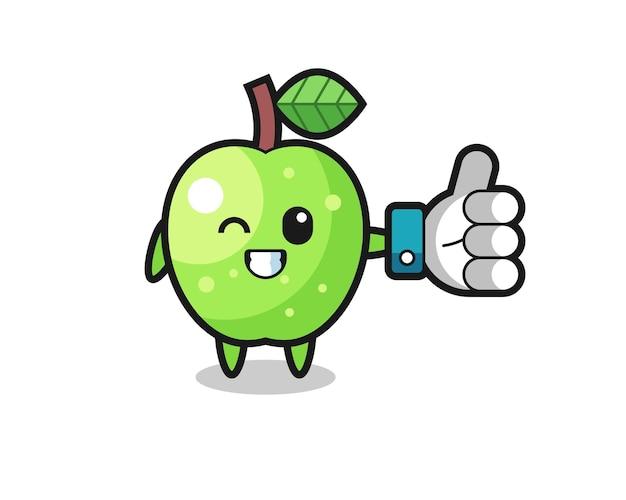 Carina mela verde con il simbolo del pollice in alto sui social media, design in stile carino per maglietta, adesivo, elemento logo