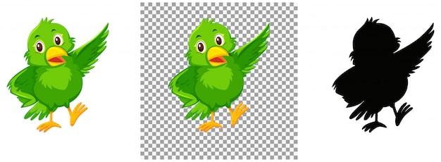 Simpatico personaggio dei cartoni animati di uccello verde