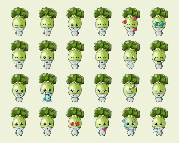 Simpatica emoticon di verdure con broccoli verdi, per logo, emoticon, mascotte, poster