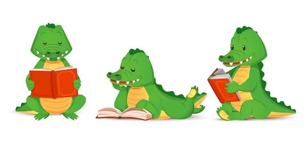 Un simpatico coccodrillo verde legge un interessante set di libri di figurine di alligatori animali isolati vector