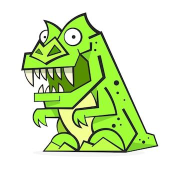 Dinosauro verde sveglio isolato su priorità bassa bianca. personaggio dei cartoni animati divertente, illustrazione.