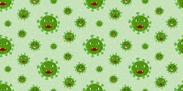 Virus della corona emozionale verde carino su verde pastello con sfondo di punti, motivo senza cuciture sullo sfondo, vettore