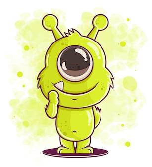 Cartone animato carino mostro verde