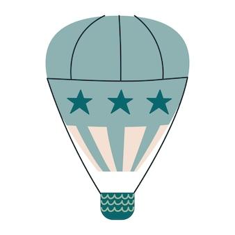 Simpatico trasporto in mongolfiera verde pastello. stampa vettoriale per bambini. volo nel cielo. minimalismo per un asilo nido o una stampa. mosca isolata clipart di arte del bambino