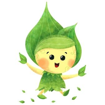 Simpatico personaggio mascotte pianta verde illustrazione