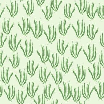 Modello senza cuciture sveglio di alghe verdi. sfondo di fogliame subacqueo. carta da parati con piante marine. design per tessuto, stampa tessile, avvolgimento, copertina. illustrazione vettoriale.