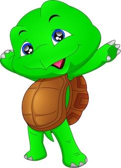Simpatico cartone animato tartaruga verde