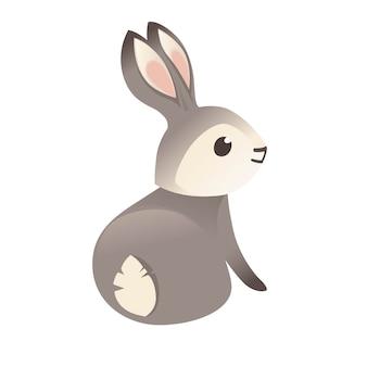 Simpatico coniglio grigio seduto a terra cartoon design animale piatto illustrazione vettoriale isolato su sfondo bianco.