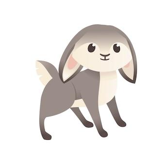 Simpatico coniglio grigio stare a terra cartoon design animale piatto illustrazione vettoriale isolato su sfondo bianco.