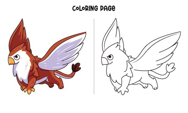 Grifone carino. pagina da colorare stampabile e libro da colorare