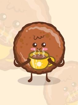 Prosciutto alla griglia carino che tiene una tazza di caffè. personaggio dei cartoni animati.