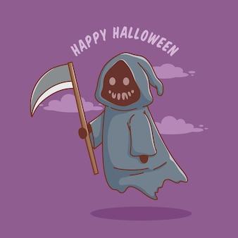 Simpatico personaggio dei cartoni animati di grim reaper per poster o banner di invito di halloween