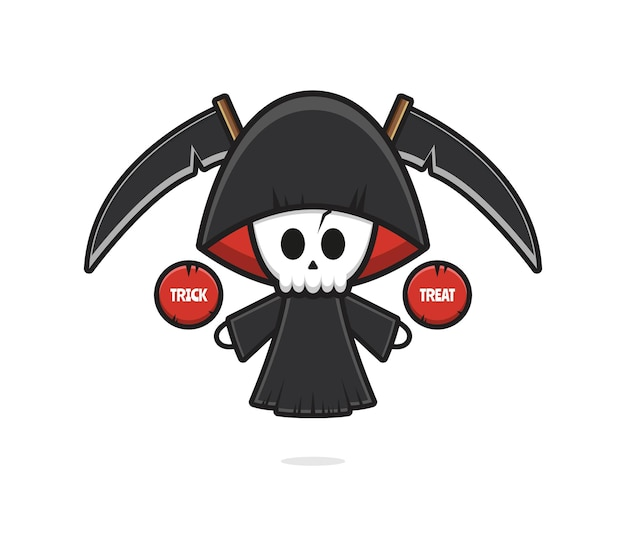 Carino grim reaper halloween dare dolcetto o scherzetto icona del fumetto illustrazione. design piatto isolato in stile cartone animato