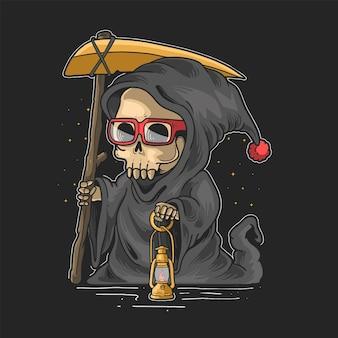Carino triste mietitore illustrazione vettoriale di notte di halloween