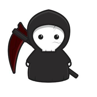 Simpatico personaggio della mascotte del mietitore triste con l'illustrazione dell'icona del fumetto di vettore della falce rossa