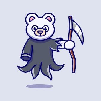 Illustrazione sveglia della tigre dell'orso polare del mietitore triste