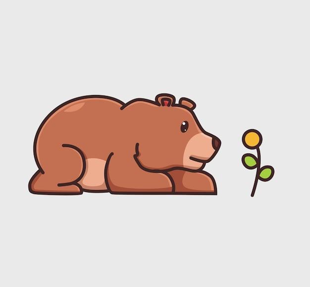 Simpatico orso grizzly marrone seduto alla ricerca di fiori cartone animato natura animale illustrazione isolata