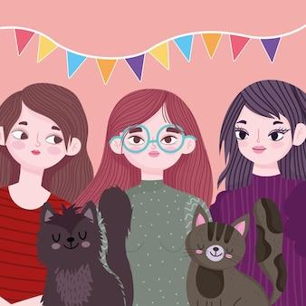 Donne sveglie del gruppo con l'illustrazione del fumetto dell'animale domestico degli animali dei gatti