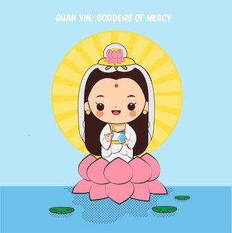 Simpatico cartone animato guan yin, dea delle merci per la cultura cinese